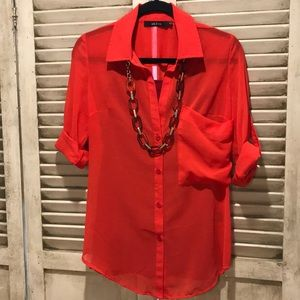 Coral red blouse with cute back